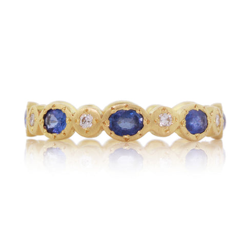 Adel Chefridi Sapphire Oval and Round Band