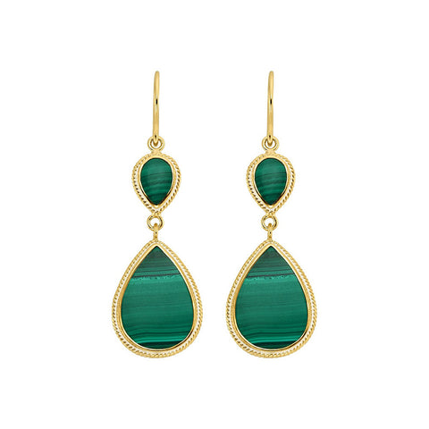 Malachite Double Teardrop Earrings