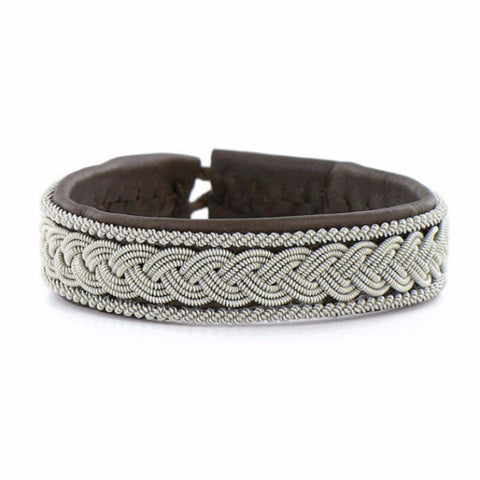 Pewter & Leather Bracelet, Mandel