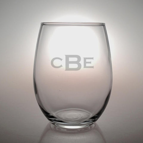 Monogrammed Stemless Wine Glasses - Set of 4