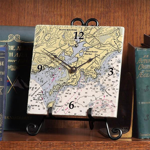 Nautical Chart Marble Clock