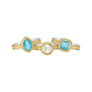 Turquoise & Mother of Pearl Stacking Rings