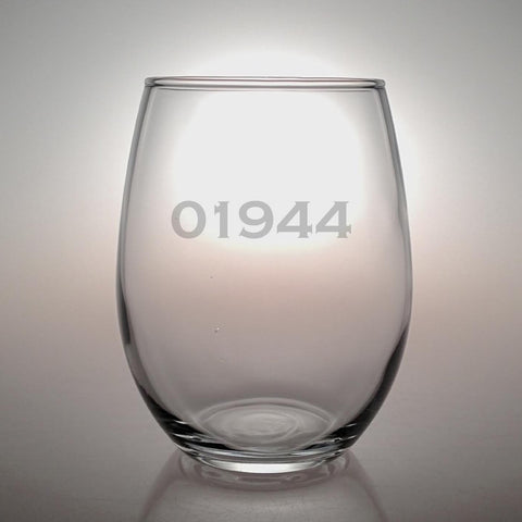 Personalized Zip Code Stemless Wine Glasses - Set of 4