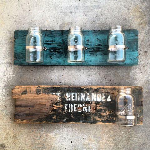 Vintage Mason Jars on Reclaimed Crate Wood