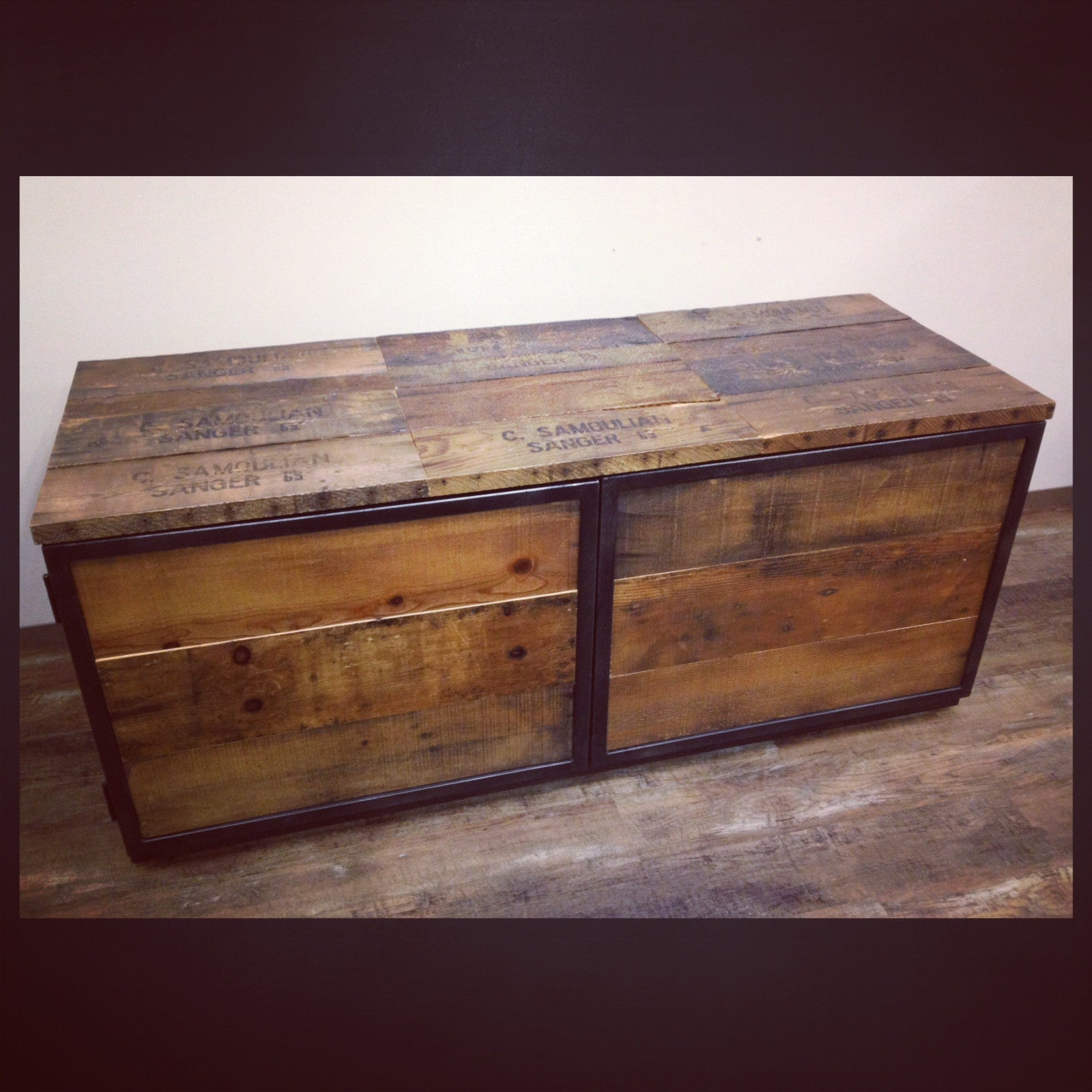 Reclaimed Wood And Metal Cabinet