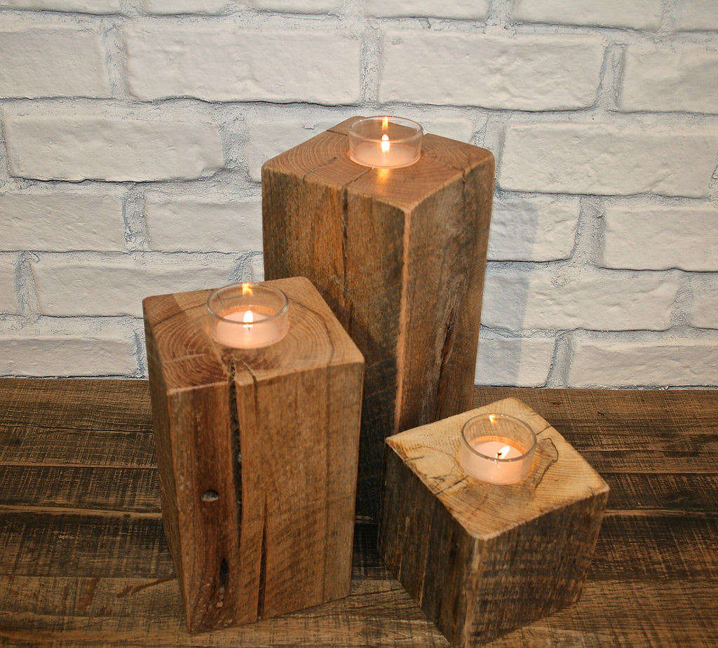 Reclaimed Oak Beam Votive Holders
