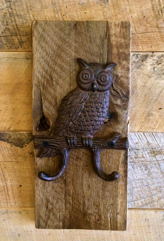 Reclaimed Oak and Cast Iron Owl on Branch Hook
