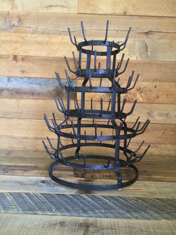 SMALL HANDCRAFTED VINTAGE EUROPEAN STYLE BOTTLE DRYING RACK