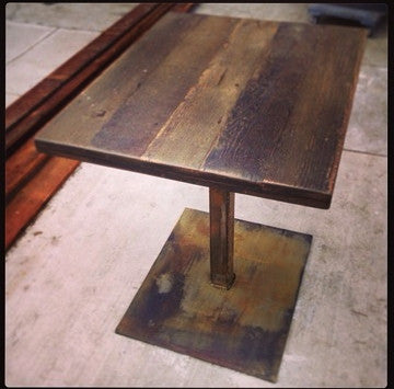 2 Top Table- Rusted Metal Base