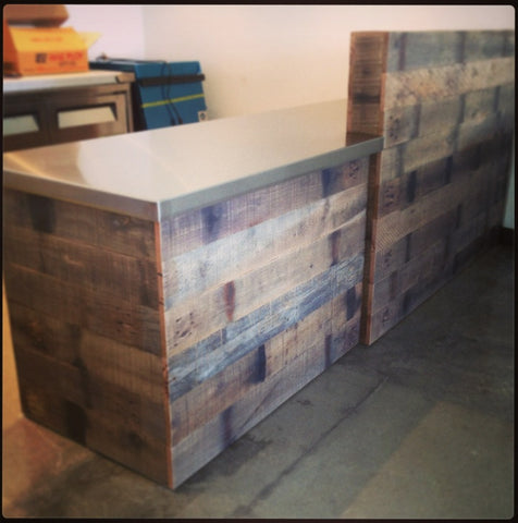 Reclaimed Oak Bar with Steel Top