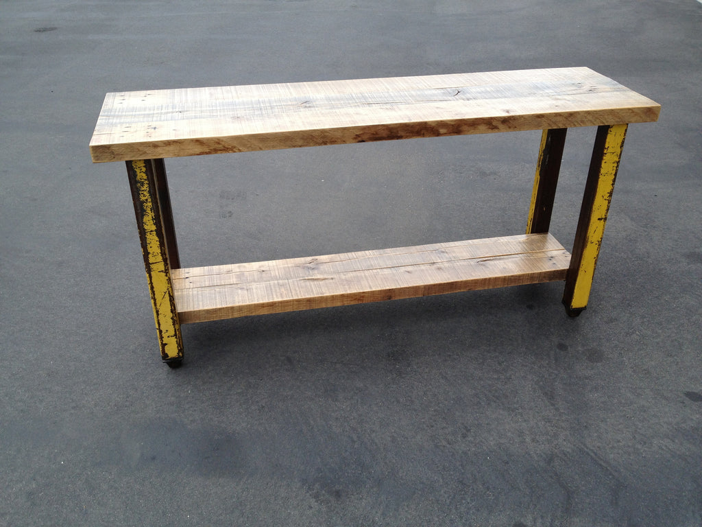 Reclaimed Oak and Industrial Console Table