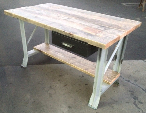 Reclaimed Oak and Metal Green Desk