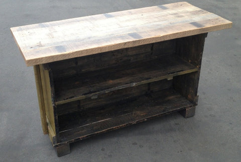 WWII Gun Crate and Reclaimed Oak Kitchen Island