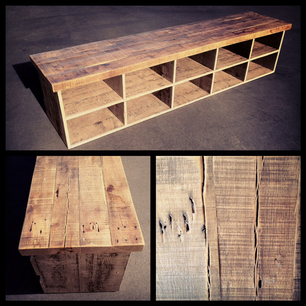 Reclaimed wood bench with storage