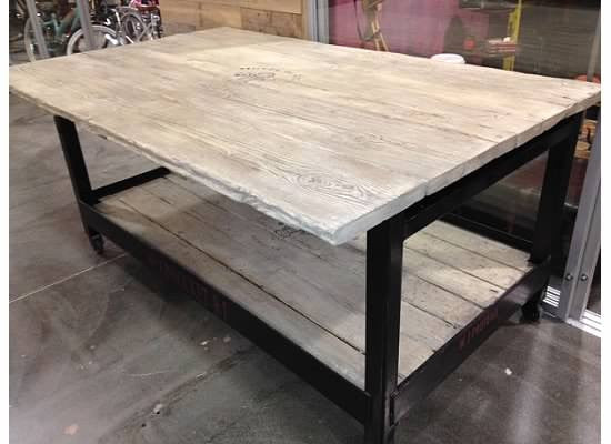 Reclaimed Wood and Metal Kitchen Island