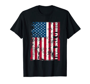 American Flag Build The Wall Donald Trump Rally T-Shirt