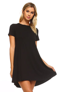 Women's Loose T-Shirt Keyhole Dress