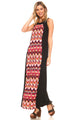 Women's Sleeveless Color Block Maxi Dress