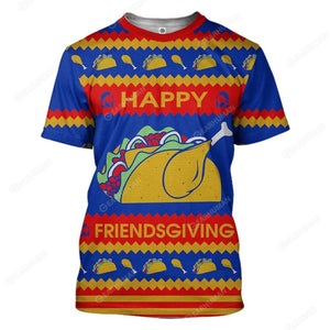 3D Full-Print Ugly Happy Friendsgiving Apparel