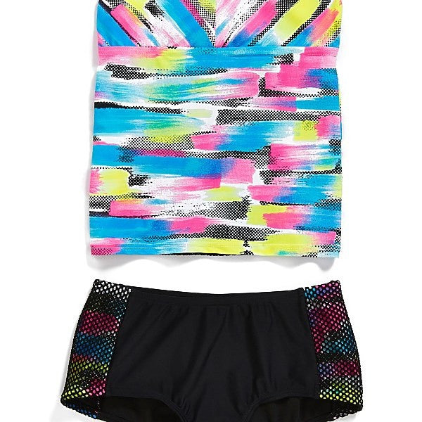 Gossip Girl Rainbow Checkers Tankini - Raw Skin Surf Shack