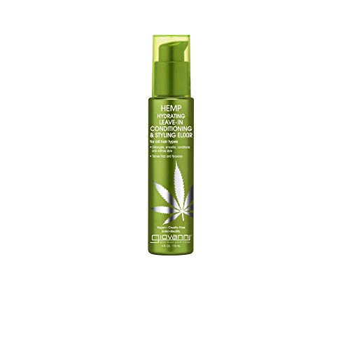 Hemp Hydrating Leave-In Conditioning & Styling Elixir, 4 oz. Hemp Seed Oil, Revitalize Damaged Hair