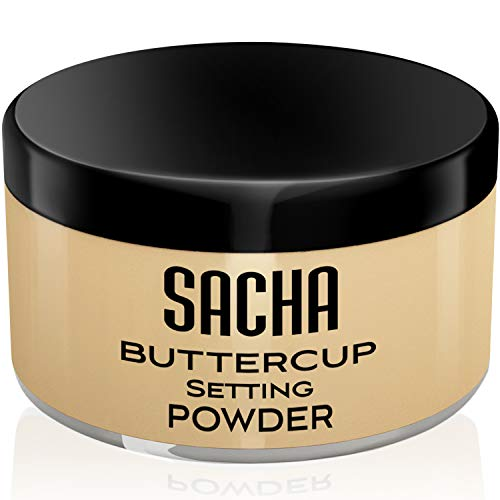 Sacha Buttercup Setting Powder. No Ashy Flashback. Blurs Fine Lines and Pores. Loose, Translucent Face Powder to set any Makeup Foundation or Concealer. For Medium to Dark Skin Tones, 1.25 oz. - Coco Mink Lashes