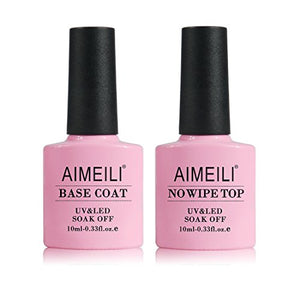 AIMEILI Gel Nail Polish No Wipe Top and Base Coat - Coco Mink Lashes
