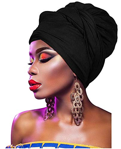 L'VOW Women' Soft Stretch Headband Long Head Wrap Scarf Turban Tie (Black)
