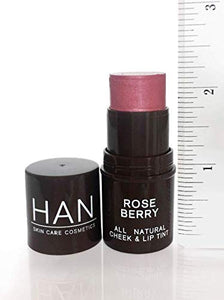 HAN Skincare Cosmetics All Natural Cheek and Lip Tint, Rose Berry - Coco Mink Lashes