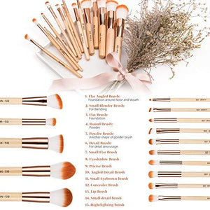 BS-MALL Makeup Brush Set 15 Pcs Wooden Eyeshadow - Coco Mink Lashes