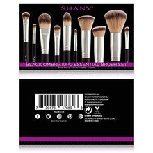 Load image into Gallery viewer, SHANY Black OMBRÉ Pro 10 PC Essential Brush Set with Travel Pouch - Coco Mink Lashes
