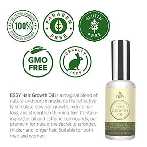 Natural Hair Growth Oil with Caffeine and Biotin - Hair Growth Oil for Stronger, Thicker, Longer Hair 1.7 oz - Coco Mink Lashes