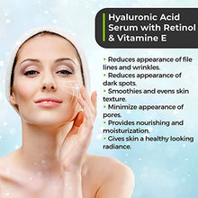 Load image into Gallery viewer, Anti Aging Hyaluronic Acid and Retinol Serum 2.5% for Face with Vitamin E For Oily Acne Skin - Best Retinol Facial Moisturizer - Reduce Fine Lines - Wrinkle - Dark Spots - Pure Organic Ingredients