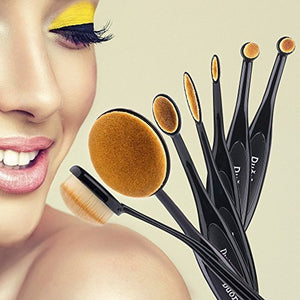 Duorime New 7pcs Black Oval Makeup Brush Set