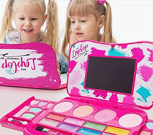 My First Makeup Set, Girls Makeup Kit, Fold Out Makeup Palette with Mirror