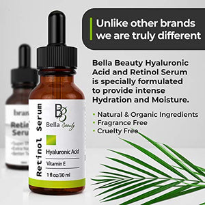 Anti Aging Hyaluronic Acid and Retinol Serum 2.5% for Face with Vitamin E For Oily Acne Skin - Best Retinol Facial Moisturizer - Reduce Fine Lines - Wrinkle - Dark Spots - Pure Organic Ingredients