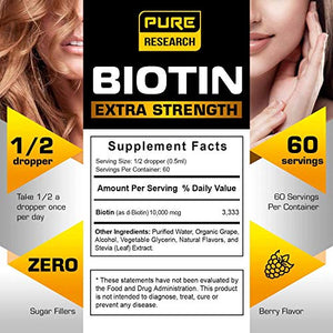Extra Strength 10000mcg Biotin Liquid Drops, 60 Servings, Vegan Friendly, Supports Healthy Hair Growth, Strong Nails and Glowing Skin, 3X More Absorption Than Capsules or Pills - Coco Mink Lashes