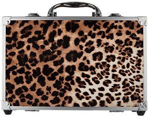 SHANY Carry All Makeup Train Case with Pro Makeup and Reusable Aluminum Case - Leopard - Coco Mink Lashes
