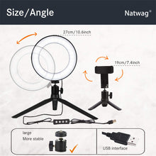 "Load image into Gallery viewer, Natwag 6"" Selfie Ring Light with Tripod Stand & Cell Phone Holder"