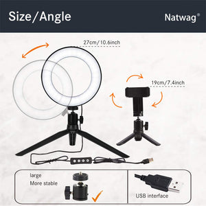 "Natwag 6"" Selfie Ring Light with Tripod Stand & Cell Phone Holder - Coco Mink Lashes"