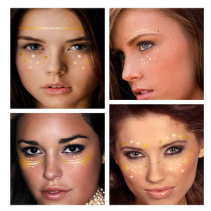 Gold Glitter Face Tattoo