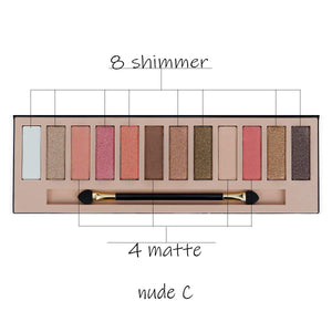 Serseul 12 Color Highly Pigmented Eyeshadow Palette - Coco Mink Lashes