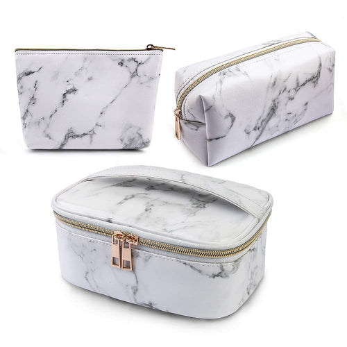 Gold Zipper Marble Toiletry Makeup Bag 3 Pack