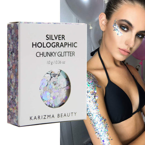 Karizma Silver Holographic Chunky Glitter - Coco Mink Lashes