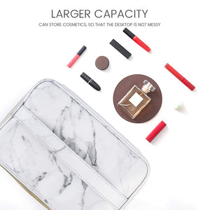 Gold Zipper Marble Toiletry Makeup Bag 3 Pack - Coco Mink Lashes
