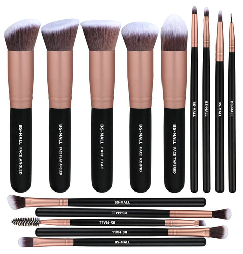 BS-MALL Makeup Brushes 14 Pcs Brush Set, Rose Golden, 1 Count