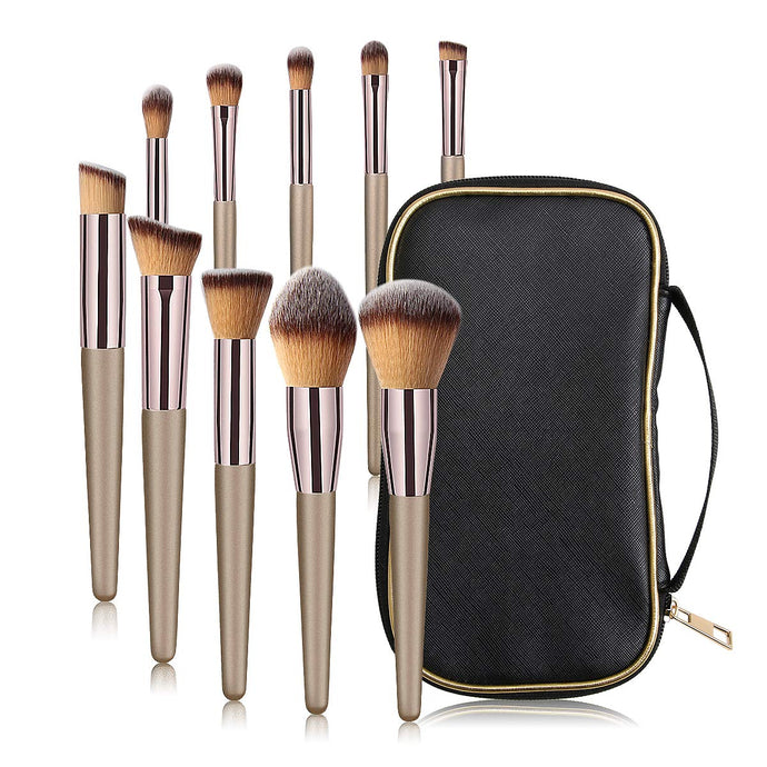 MAANGE 10 Pcs Travel Face Makeup Brushes - Coco Mink Lashes