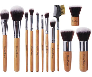 EmaxDesign 12 Pieces Bamboo Makeup Brush Set - Coco Mink Lashes