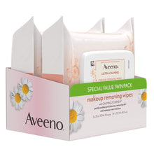 Load image into Gallery viewer, Aveeno Ultra Cleansing Towelettes Oil-Free Sensitive Skin, 25 Count, Twin Pack
