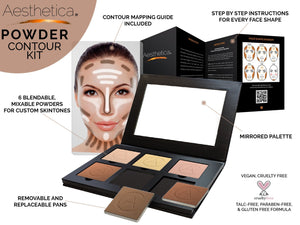 Aesthetica Cosmetics Contour Kit - Powder Contour, Highlighter & Bronzer